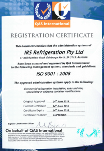 IRS - ISO 9001-2008 Accreditation