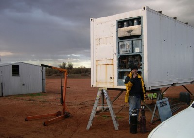 IRS staff repairing a refrigerated shipping container in Broken Hill