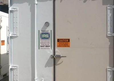 Lockable refrigerated rear door shipping container conversion