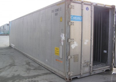 Traditional dual rear door shipping container before conversion