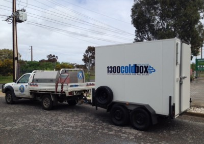 New cool room freezer combination mounted on a trailer which can be towed by a car, built by IRS Refrigeration