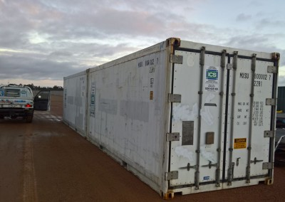 Two containers being prepared for shipment by the Australian Army for short term hire
