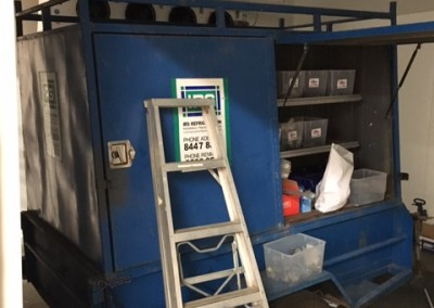 One of IRs Refrigeration mobile workshops purpose built and mounted on a trailer being used to install a coolroom at Adelaide