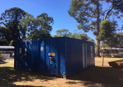 Multiple refrigerated shipping containers  with side doors hired at a festival in Adelaide
