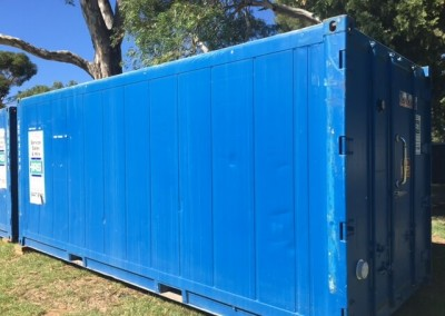 A refrigerated shipping container hired during at the Garden of Unearthly Delights venue at the Fringe festival in Adelaide Parklands