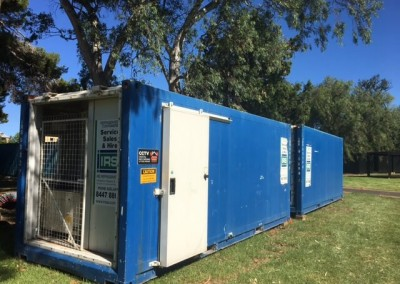 Two refrigerated shipping containers installed end on end hired during a festival in Adelaide