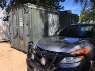 An IRS Refrigeration support vehicle installing a refrigerated shipping container
