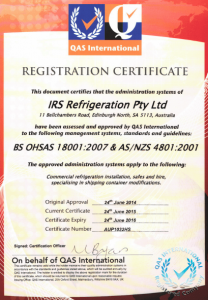 IRS - BS OHSAS 18001-2007 & AS-NZS 4801-2001 Accreditation