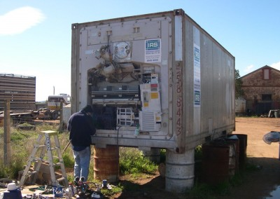 IRS repair refrigerated shipping containers in to the out back in Australia