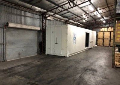 Installation of another modified 40 ft Refrigerated Container at Asian Kitchen's Warehouse in Kidman Park