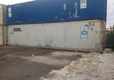 IRS's refrigerated containers all ready for transportation, stacked at our warehouse