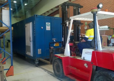 Our staff installing a mobile refrigerated container on site for one of our country SA clients