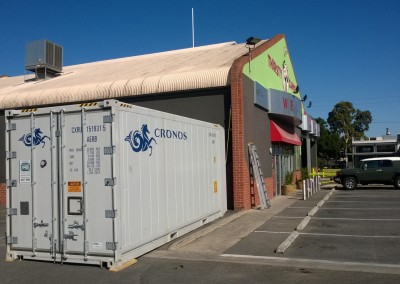 Refrigerated shipping container hired to store extra stock during busy Xmas period