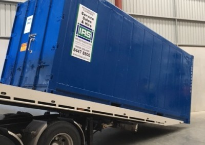 IRS refrigerated container being loaded for transport